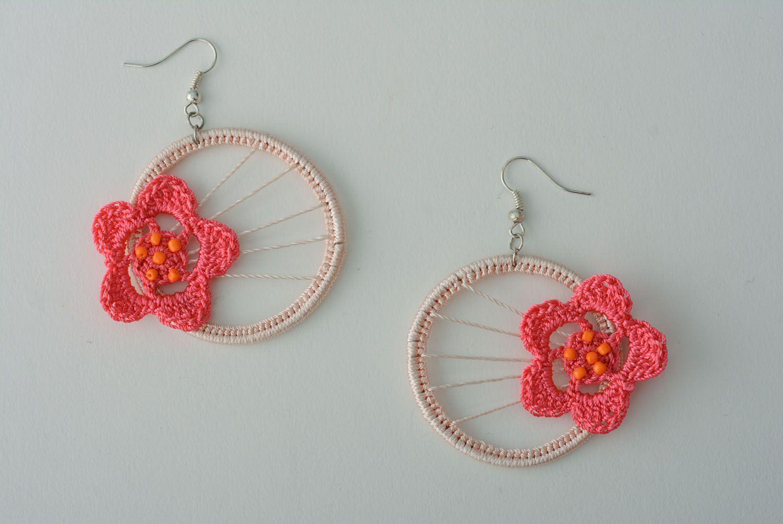Crochet earrings With Flower photo 1