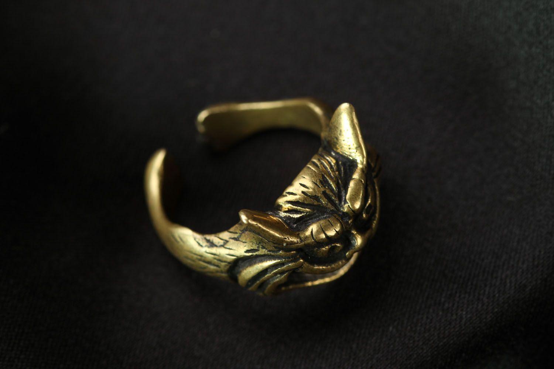 Bronze seal ring Cheshire Cat photo 1