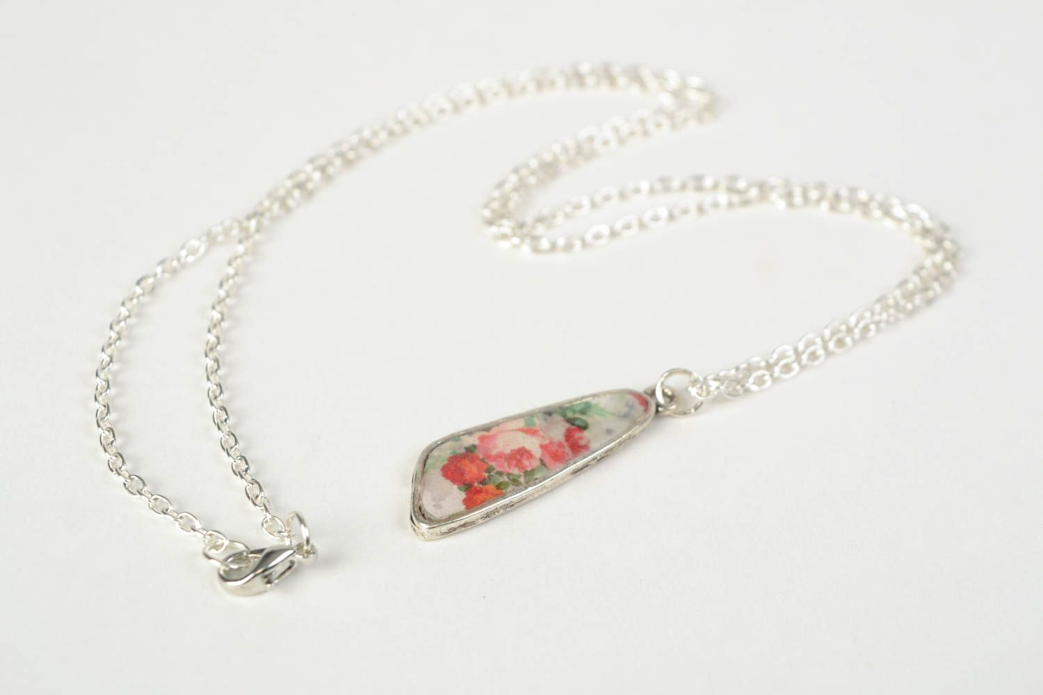 Handmade epoxy resin neck pendant with decoupage flowers for women photo 5
