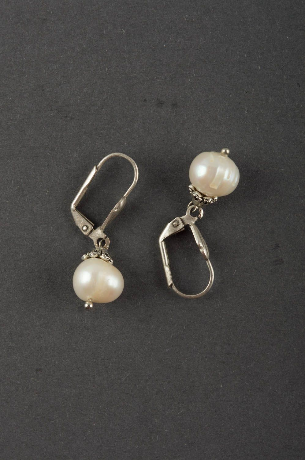 drop earrings Elegant cute designer tender handmade earrings made of pearls and brass - MADEheart.com
