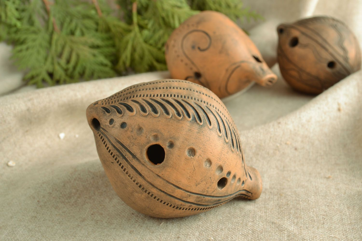 Nice clay penny whistle photo 1