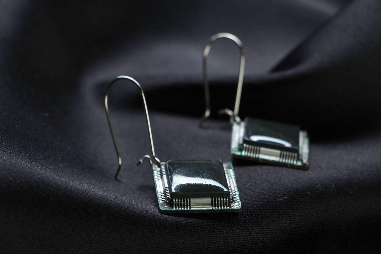 Cyberpunk earrings with microchips photo 2
