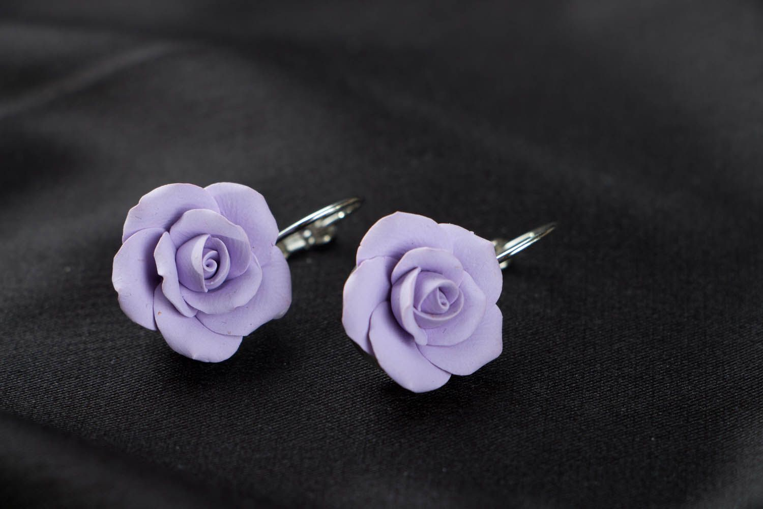 Polymer clay earrings Violet Roses photo 2