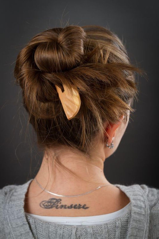 Hölzerne Haarspange Kamm foto 2