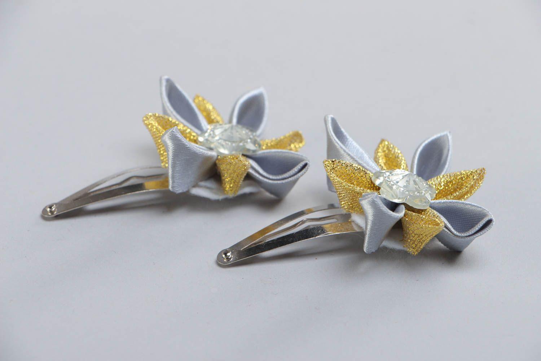 Set of 2 handmade satin ribbon flower hair clips for girls photo 3