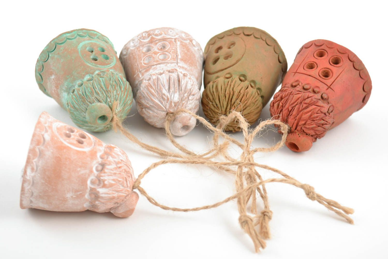 Set of handmade ceramic bells houses 5 pieces made of red clay for home decor photo 3