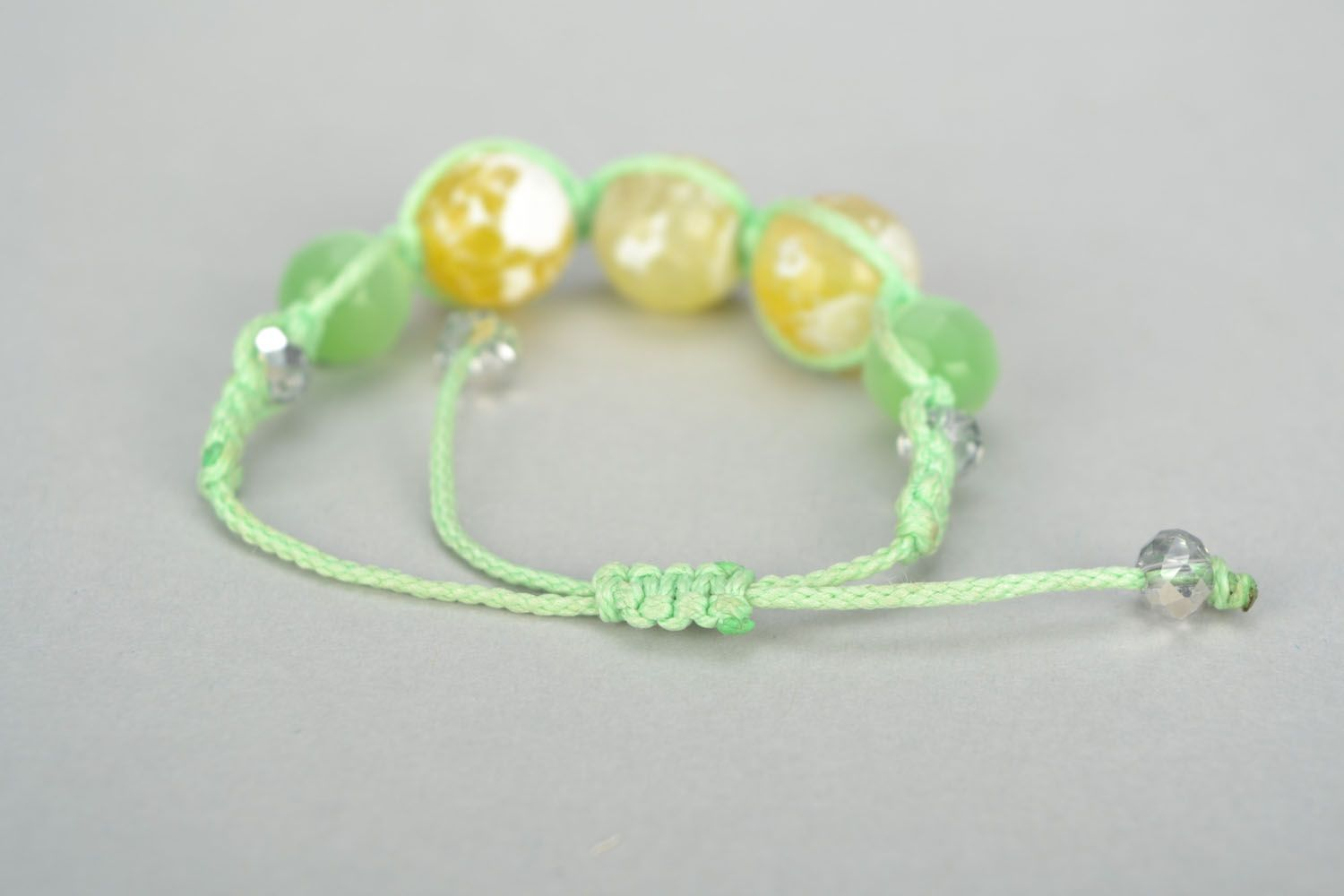 Woven bracelet with cat's eye stone photo 4
