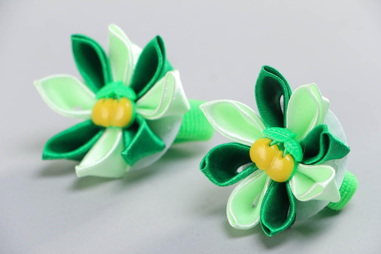 Set of 2 beautiful handmade green fabric flower hair ties kanzashi technique photo 2
