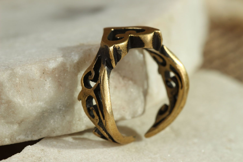 Bronze ring Heart photo 2