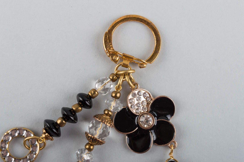 llaveros Llavero artesanal accesorio de piedras naturales regalo original  flor negra , MADEheart.com