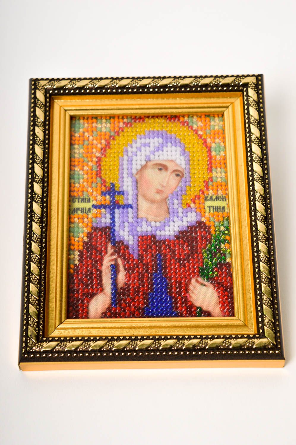 Handmade beautiful beaded icon stylish embroidered icon small home amulet photo 2