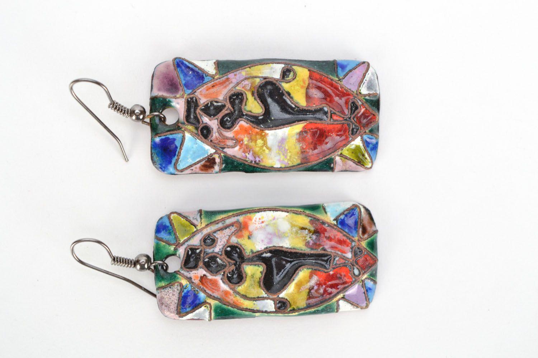 Rectangular copper earrings Dancing Africa photo 2