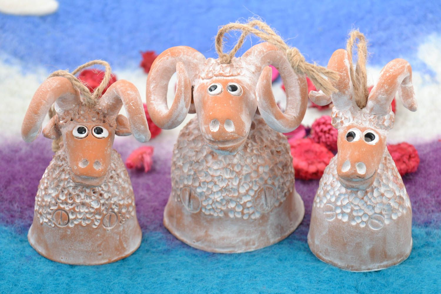 Set of handmade clay bells painted with acrylics 3 pieces for home decor photo 1