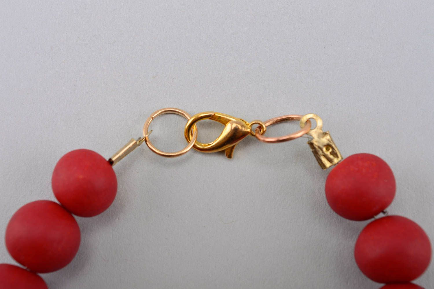 Handmade beautiful bracelet plastic red bracelet stylish wrist accessory photo 3