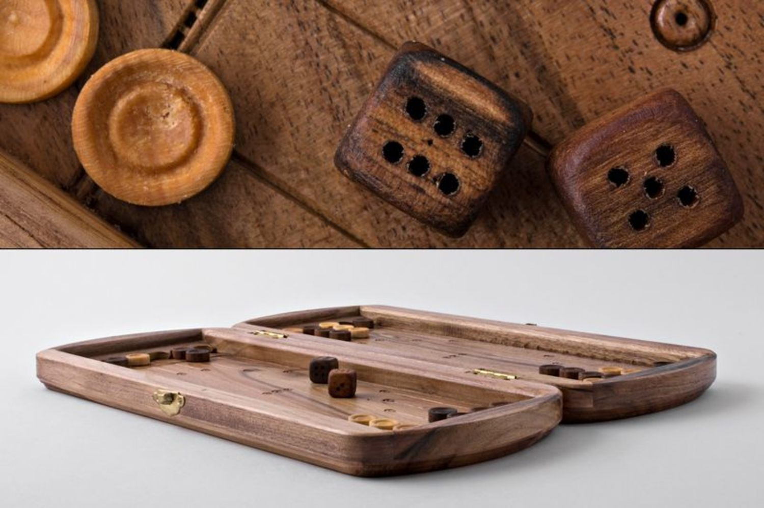 Wooden hand carved backgammon photo 2