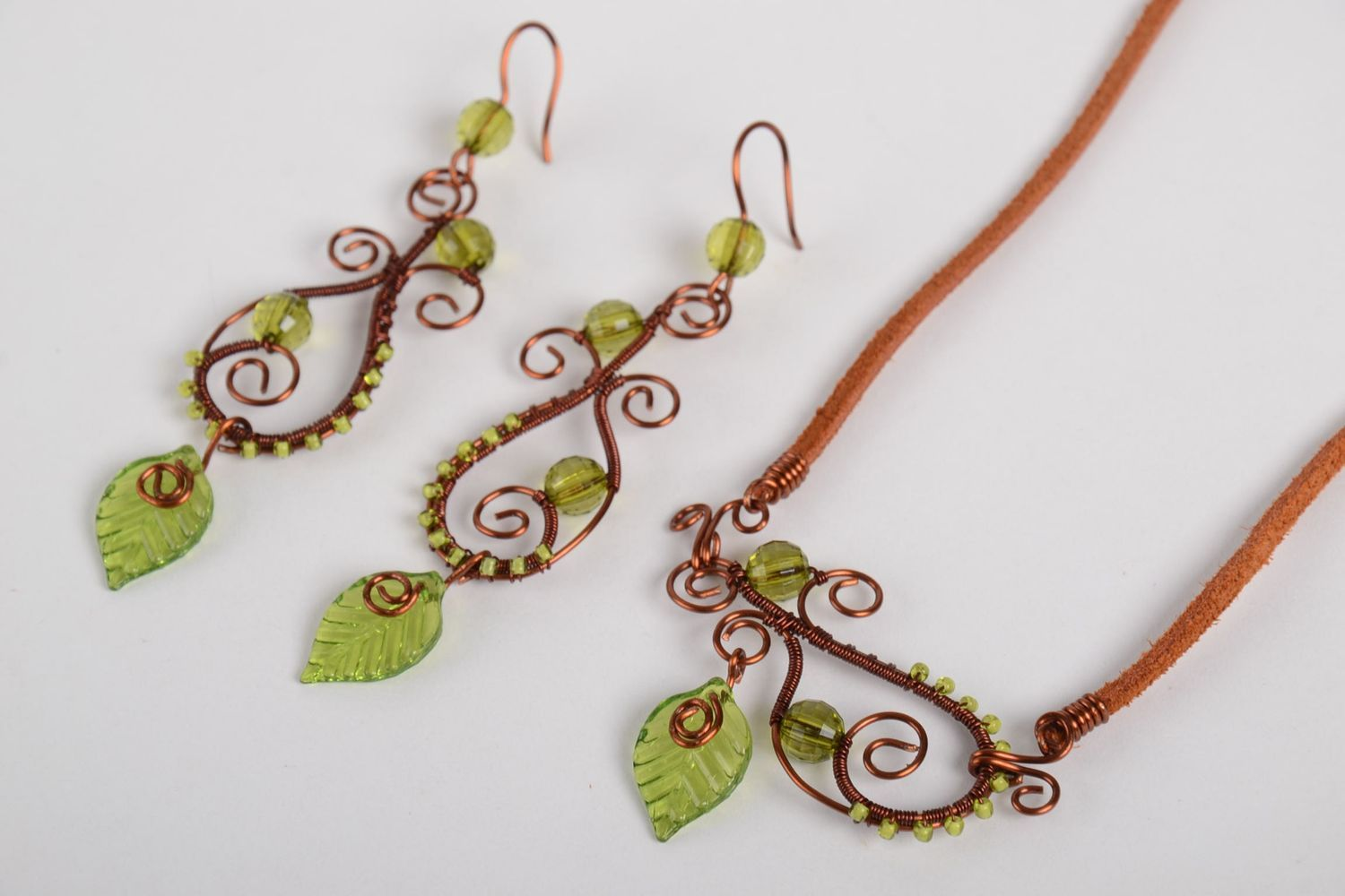 Handmade jewelry set of 2 items copper accessories for women gift ideas photo 4