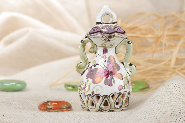 Homemade decorative enamel ceramic bell with bird photo 1