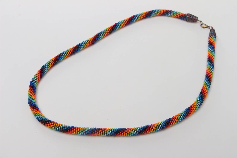 Buntes langes handgemachtes geflochtenes Litze Collier aus Glasperlen Halskette foto 2