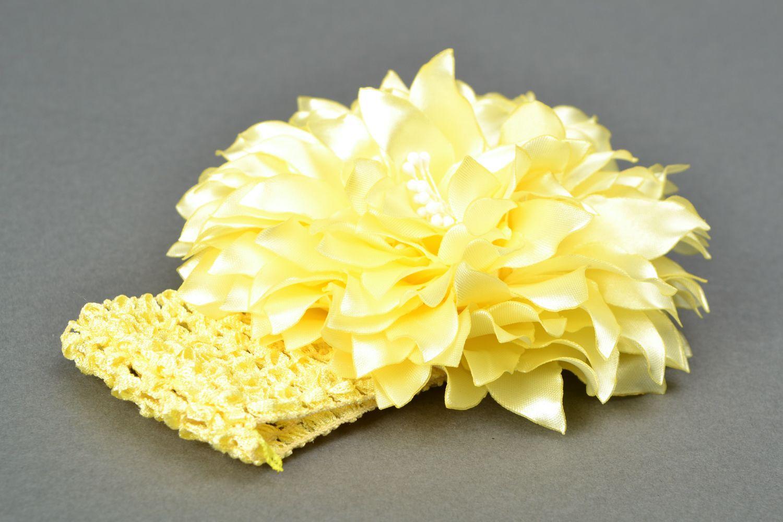 Satin ribbon flower hair strap Dahlia photo 3