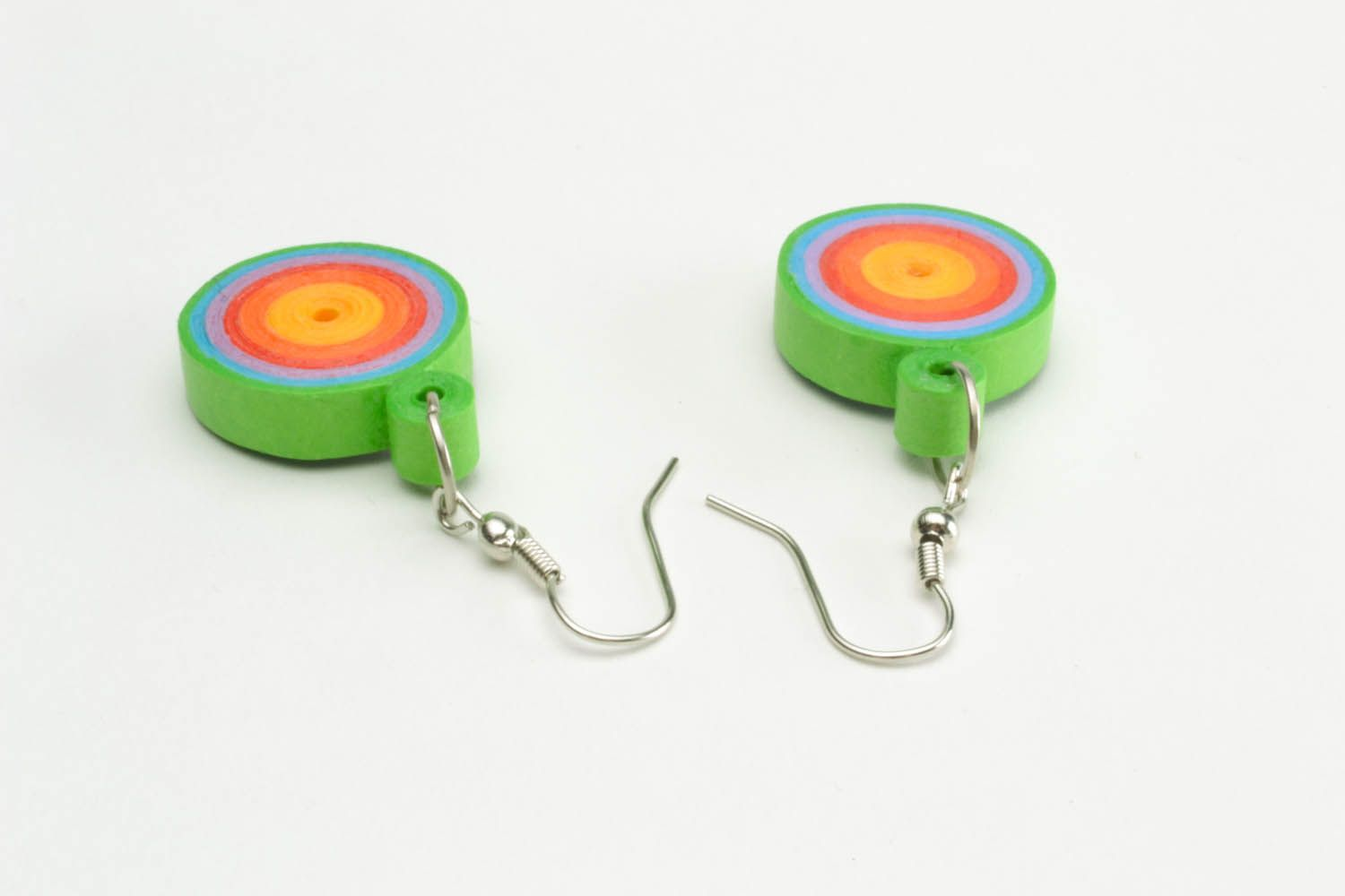 Multicolored paper quilling earrings  photo 5