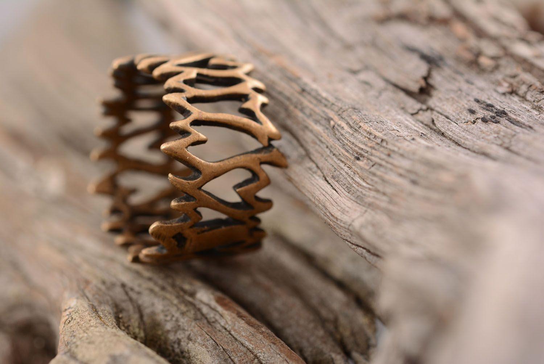Необычное кольцо из бронзы  фото 1