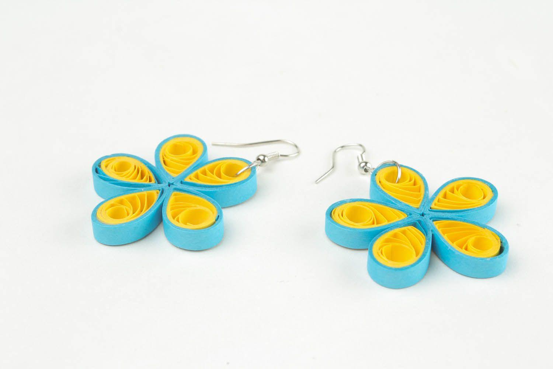 Handmade paper flower earrings  photo 5