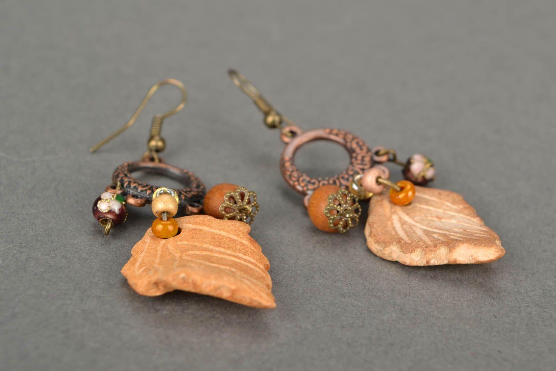 Lange Ohrringe aus Keramik Blätter  foto 5