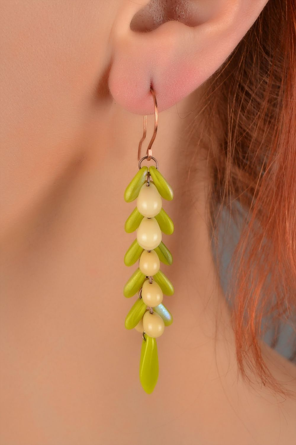 Bright summer-like handmade Czech glass earrings of lime color photo 5