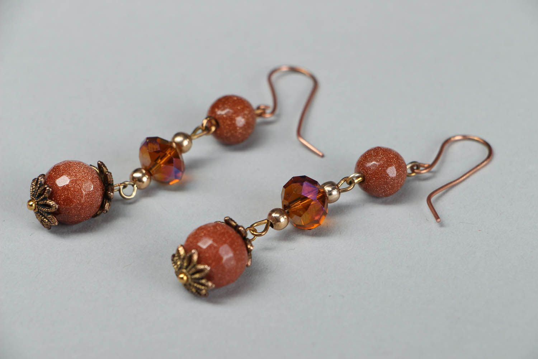 Dangle earrings with aventurine photo 2