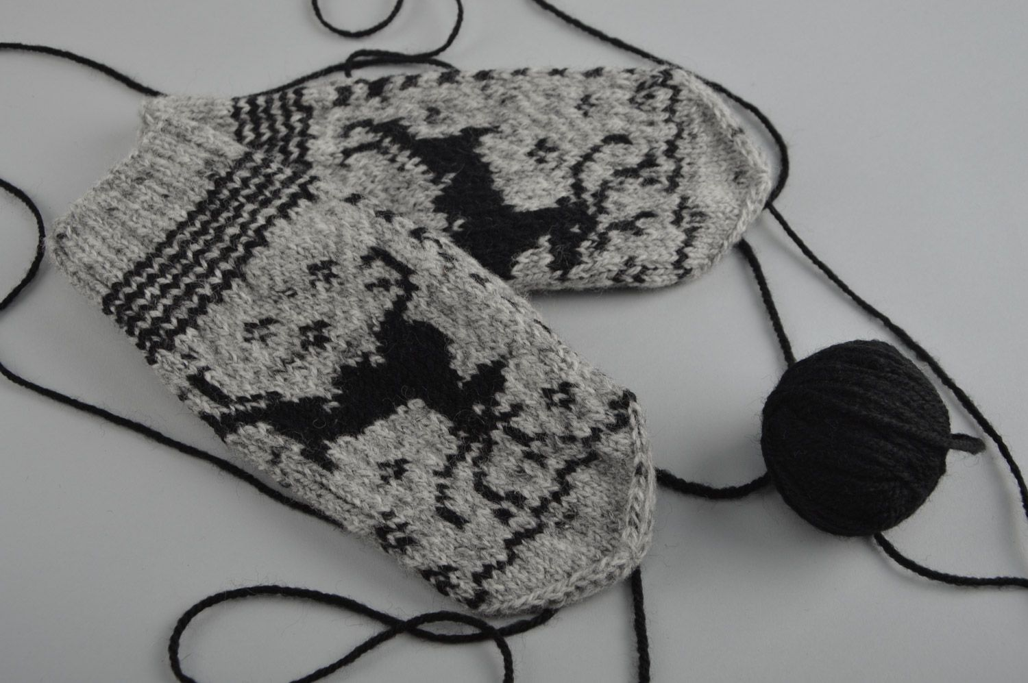 Handmade warm gray mittens with ornament knitted of sheep wool for women photo 2