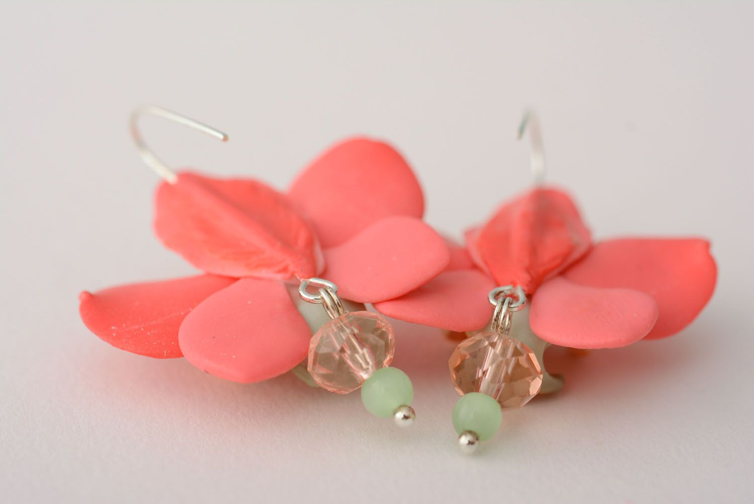 Polymer clay earrings Orchids photo 5