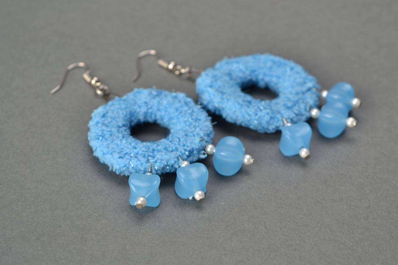 Blue crochet earrings photo 4