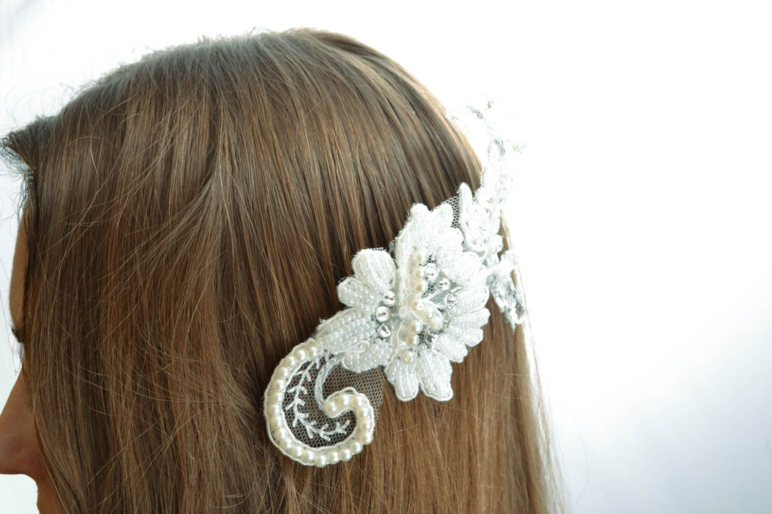 Hair comb with pearl and strasses photo 5