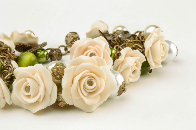 Armband aus Polymerton mit Blumen foto 4