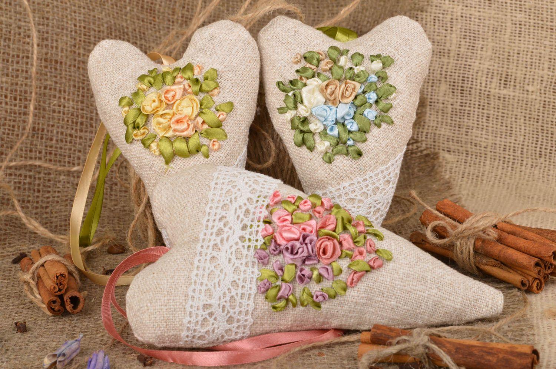 Set of 3 handmade designer heart shaped fabric sachet pillows with aroma photo 1