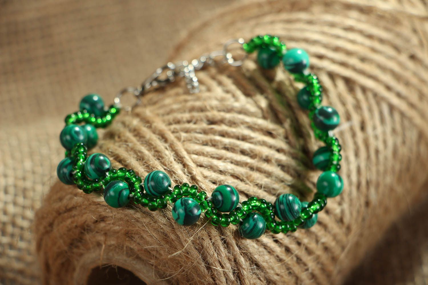 Malachite stone bracelet photo 4