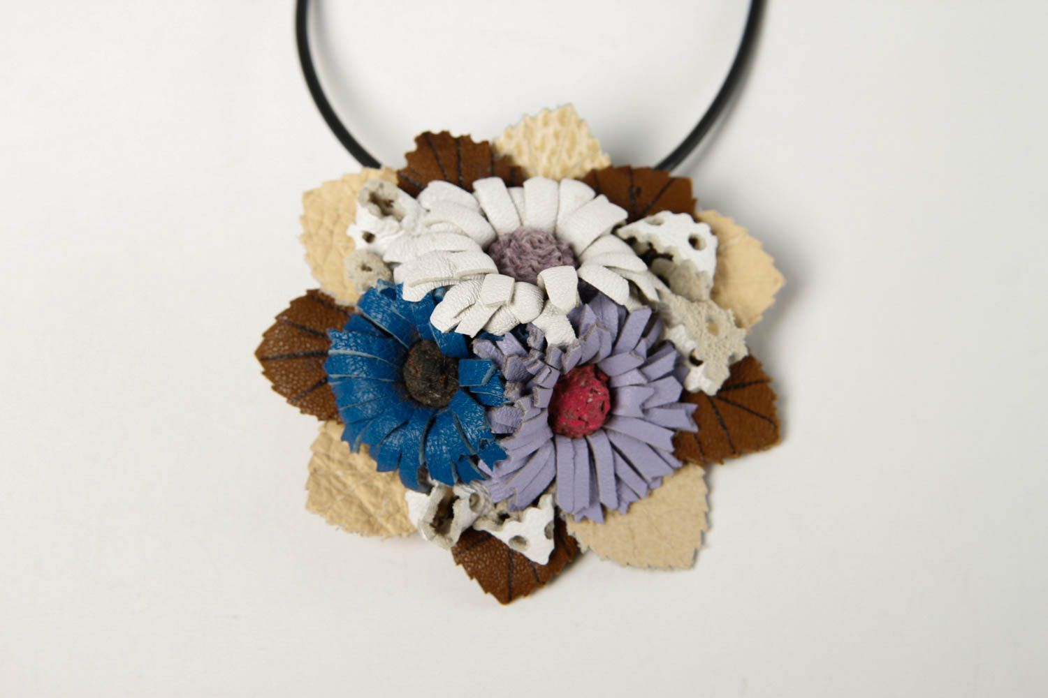 leather necklaces Handmade necklace flower brooch leather goods designer accessories gifts for her - MADEheart.com