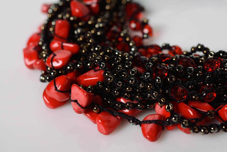 Beautiful handmade airy black beaded necklace designer accessory photo 3