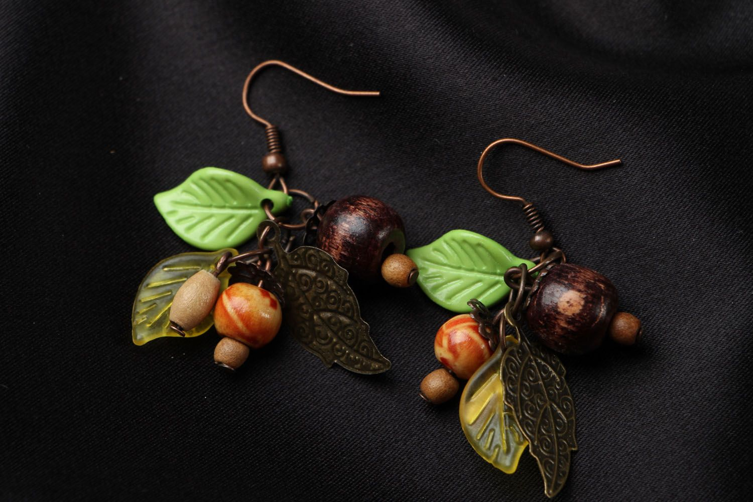 Earrings with wooden beads photo 1