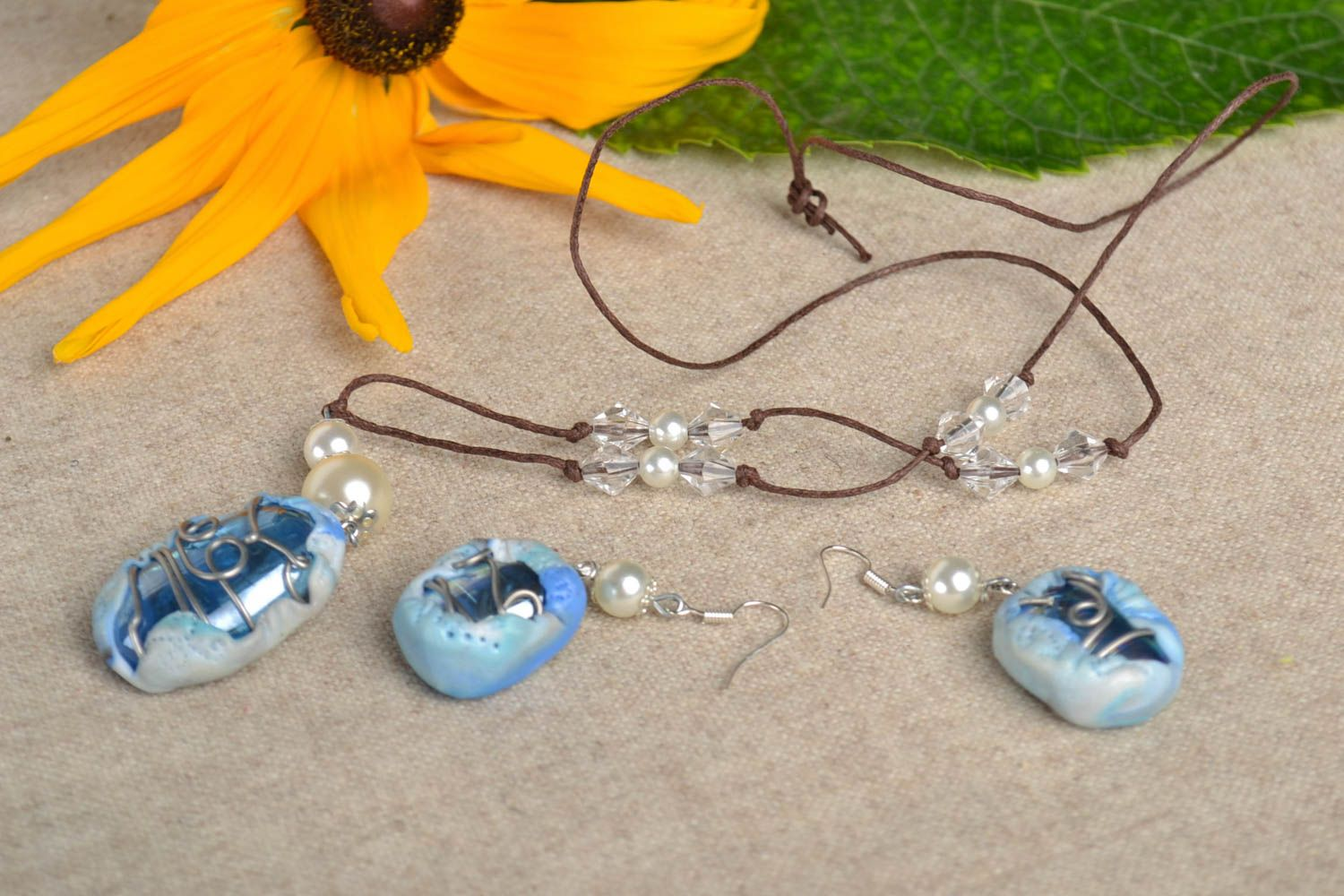 Jewelry set handmade earrings pendant necklace polymer clay fashion accessories photo 1