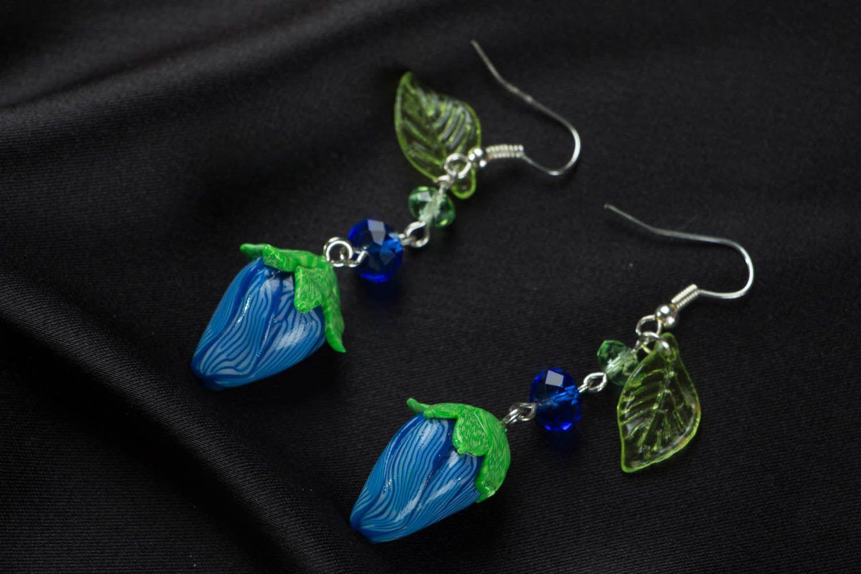 Polymer clay dangling earrings photo 1