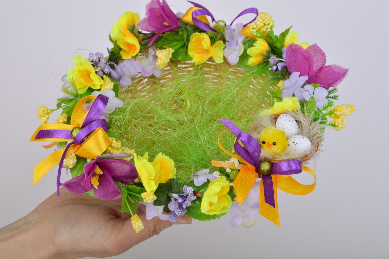 Madeheart panier tress original fait main avec fleurs d coration table de p ques - Decoration table paques fleurs ...