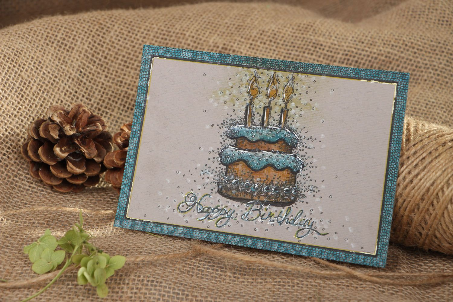 birthday Greeting card with gel pen painting