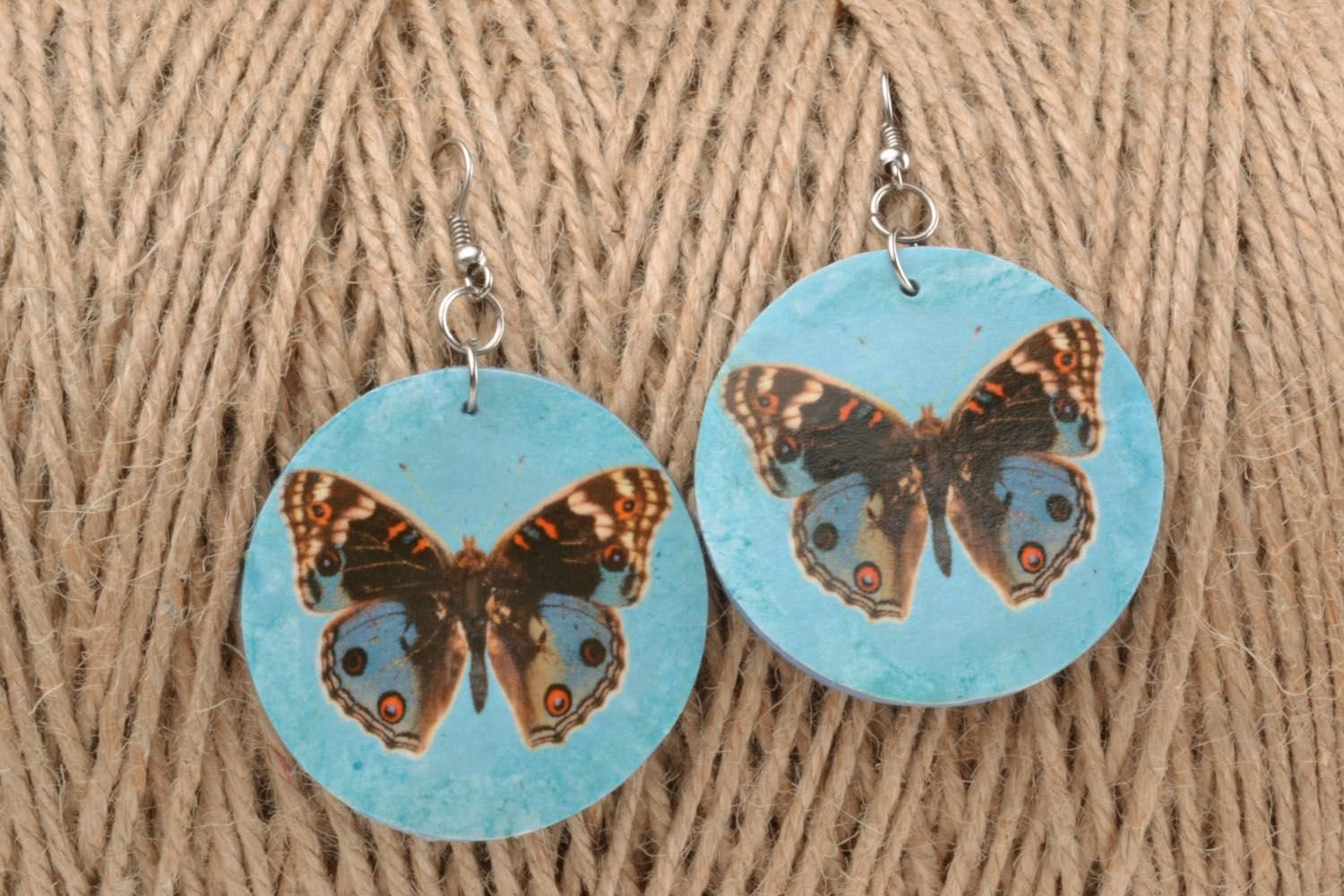 Earrings made of polymer clay with decoupage photo 1