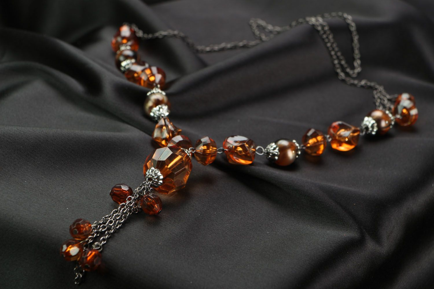 Handmade beaded necklace on a chain photo 2