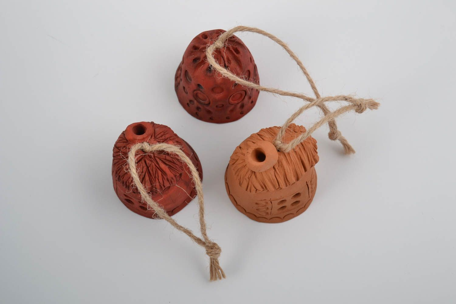 Set of small handmade wall hanging ceramic ethnic bells with cords Houses photo 3