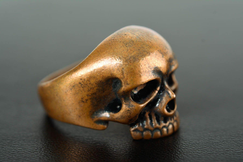 Skull ring handmade bronze ring skull jewelry handmade metal accessories photo 2