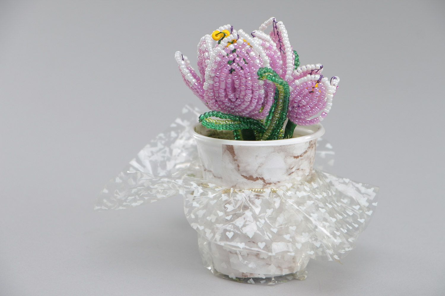 Beautiful artificial flowers hand woven of Chinese beads in the shape of violet crocuses  photo 2