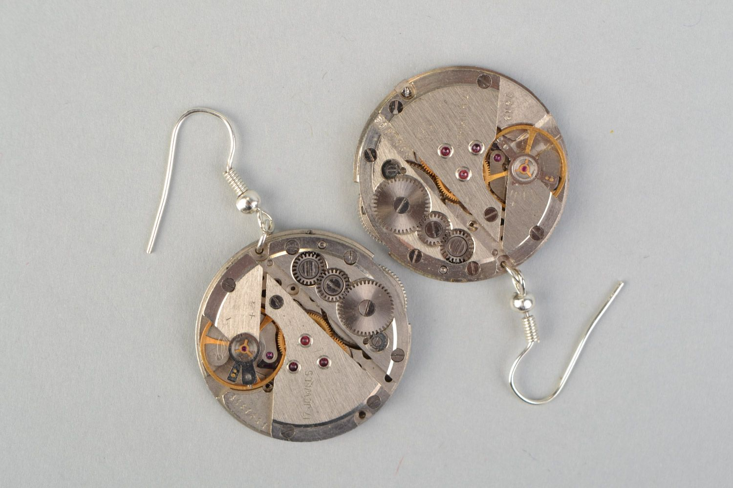 steampunk earrings Handmade designer round metal earrings in steampunk style with clock mechanism  - MADEheart.com