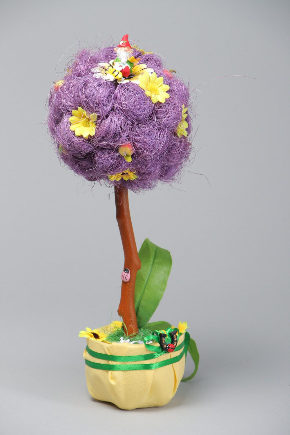 Handmade decorative tree topiary with violet sisal and artificial flowers photo 2